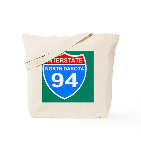 Sign-North-Dakota-Interstate-94-Button.gi Tote Bag