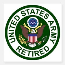 "3-Army-Retired-For-Strip Square Car Magnet 3"" x 3"""