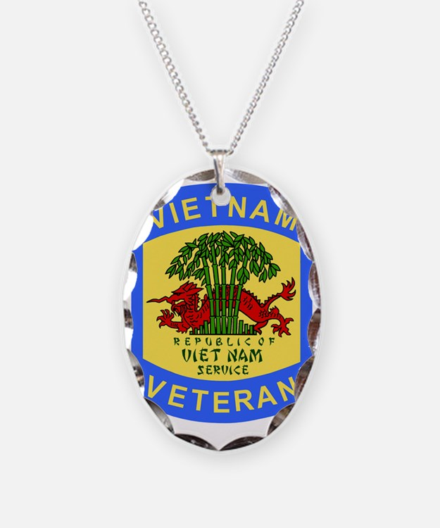 Military-Patch-Vietnam-Veteran Necklace Oval Charm