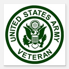 "3-Army-Veteran-Army-Gree Square Car Magnet 3"" x 3"""