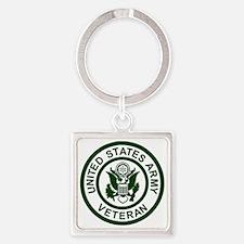 3-Army-Veteran-Army-Green.gif Square Keychain