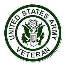 3-Army-Veteran-Army-Green.gif Round Car Magnet