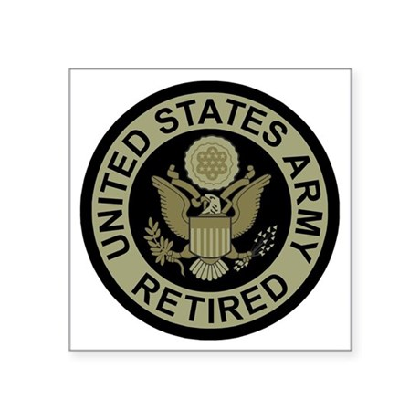 "Army-Retired-Subdued.gif Square Sticker 3"" x 3"""