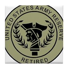 USAR-Retired-Black-On-Olive.gif Tile Coaster