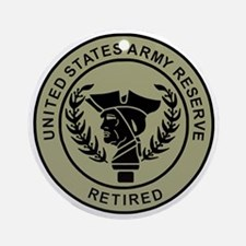 3-USAR-Retired-Black-On-Olive.gif Round Ornament