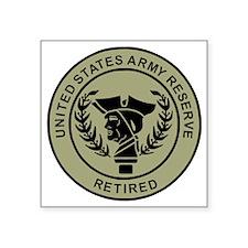 "3-USAR-Retired-Black-On-Oli Square Sticker 3"" x 3"""