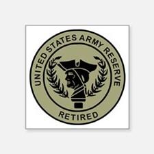 "3-USAR-Retired-Black-On-Oli Square Sticker 3"" x 3"""