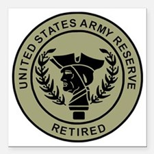 "3-USAR-Retired-Black-On- Square Car Magnet 3"" x 3"""
