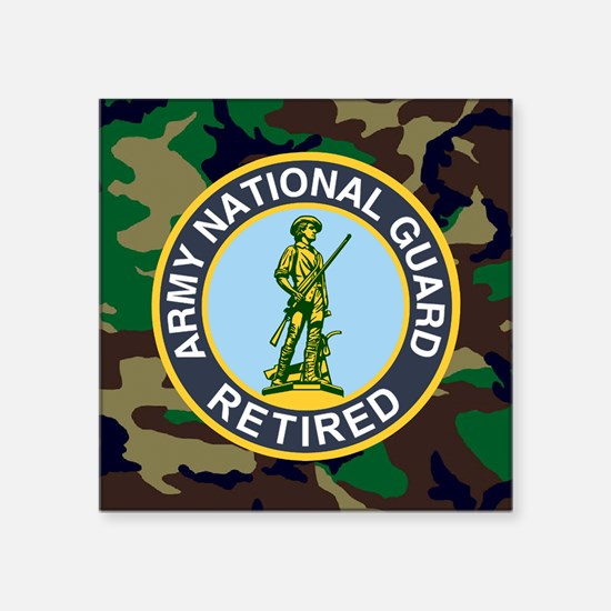 "ARNG-Retired-Mousepad-Woodl Square Sticker 3"" x 3"""