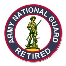 ARNG-Retired-Red-Blue.gif Round Car Magnet