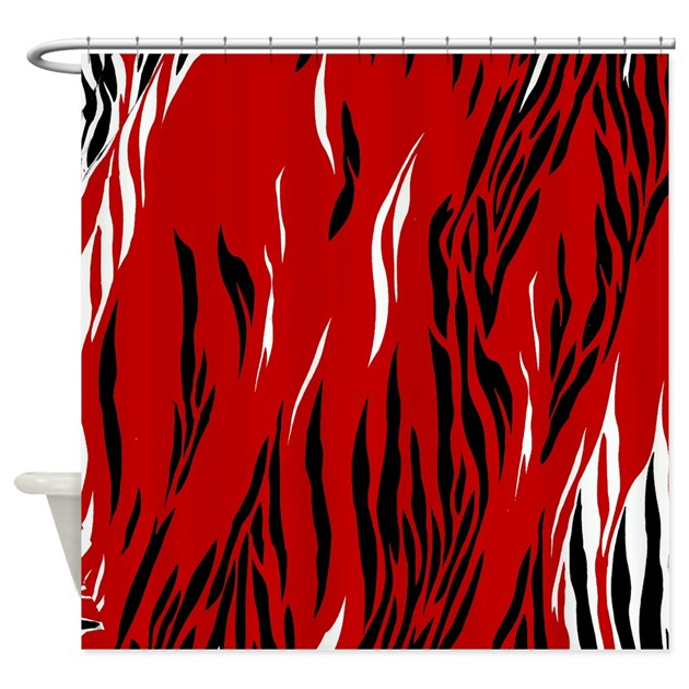 Zebra Print Red Black White Shower Curtain By FamilyandBaby