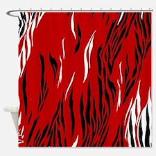 Zebra Print Red Black White Shower Curtain
