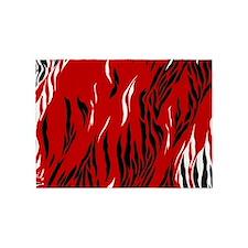 Zebra Print Red Black White 5'x7'Area Rug