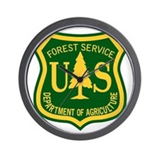 Forest-Service-Badge-Green-Gold-PNG Wall Clock