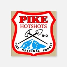 "Pike-Hotshots-Button-4 Square Sticker 3"" x 3"""