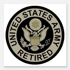 "Army-Retired-Subdued Square Car Magnet 3"" x 3"""