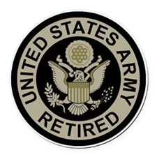 Army-Retired-Subdued Round Car Magnet