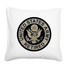 Army-Retired-Subdued Square Canvas Pillow