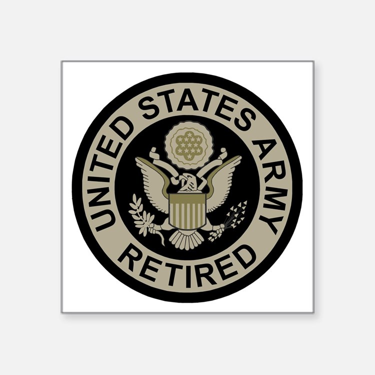 "Army-Retired-Subdued Square Sticker 3"" x 3"""