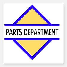 "Sign-Parts-Department Square Car Magnet 3"" x 3"""