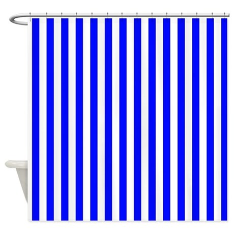 Blue And White Striped Pattern Shower Curtain By Graphicallusions