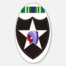 Army-2nd-Infantry-With-Korean-Servi Sticker (Oval)