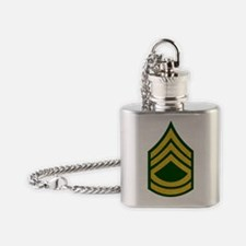 Army-SFC-Gold-Fancy-On-Green Flask Necklace