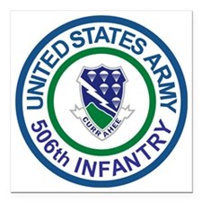"""Army-506th-Infantry-Roun Square Car Magnet 3"""" x 3"""""""