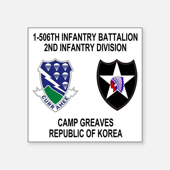 "2-Army-506th-Infantry-Korea Square Sticker 3"" x 3"""