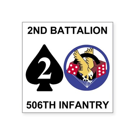 "Army-506th-Infantry-2nd-Bn- Square Sticker 3"" x 3"""