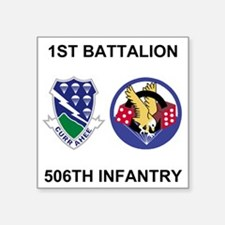 "Army-506th-Infantry-BN1-Cur Square Sticker 3"" x 3"""
