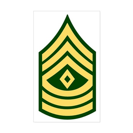 Army-1SG-Green Sticker (Rectangle)