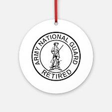 ARNG-Retired-Ring-Black-White Round Ornament