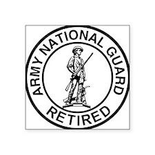 "ARNG-Retired-Ring-Black-Whi Square Sticker 3"" x 3"""