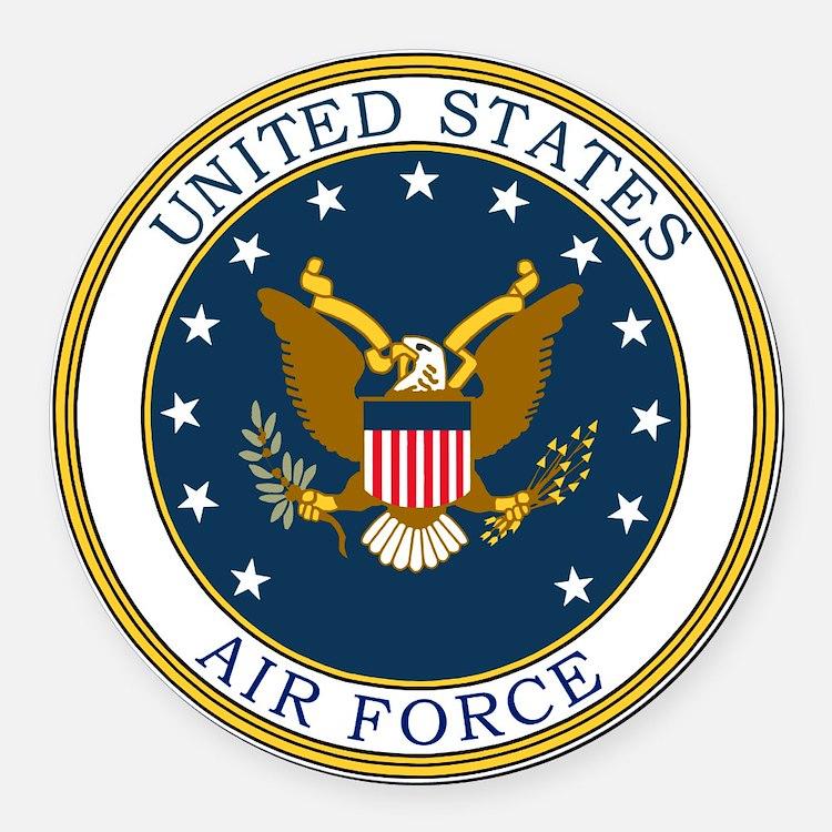 USAF-Patch-3 Round Car Magnet