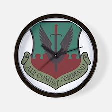 USAF-ACC-Shield-Woodland Wall Clock