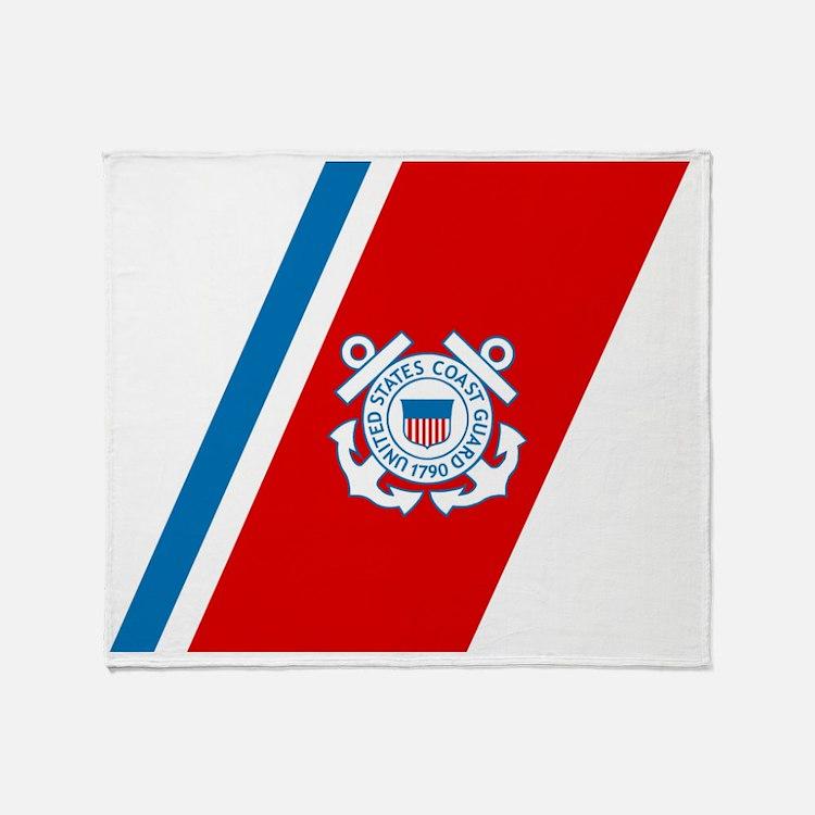 2-USCG-Racing-Stripe Throw Blanket