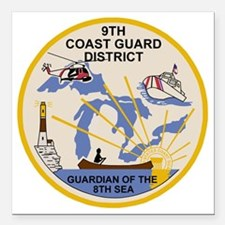 """USCG-9th-CGD-Patch Square Car Magnet 3"""" x 3"""""""
