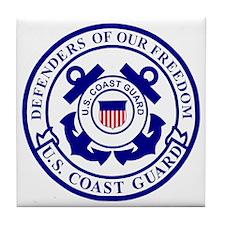 2-USCG-Defenders-Blue-White Tile Coaster