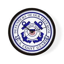 2-USCG-Defenders-Blue-White Wall Clock