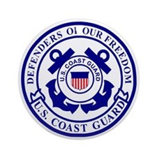 2-USCG-Defenders-Blue-White Round Ornament