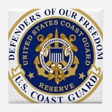 USCGR-Defending-Freedom-Circle Tile Coaster