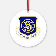 USAF-5th-AF-Shield Round Ornament