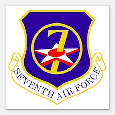 """USAF-7th-AF-Shield Square Car Magnet 3"""" x 3"""""""