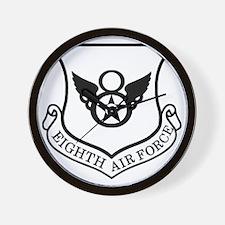 USAF-8th-AF-Shield-Black-White Wall Clock