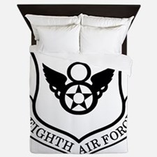 USAF-8th-AF-Shield-Black-White Queen Duvet