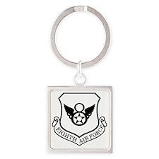 USAF-8th-AF-Shield-Black-White Square Keychain