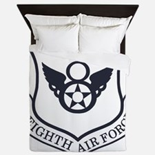 USAF-8th-AF-Shield-Midnight-Blue Queen Duvet