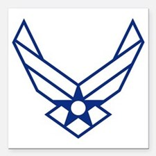 "USAF-Symbol-White-On-Blu Square Car Magnet 3"" x 3"""