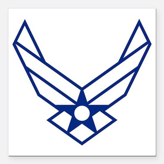 "USAF-Symbol-White-On-Blu Square Car Magnet 3"" x 3"""